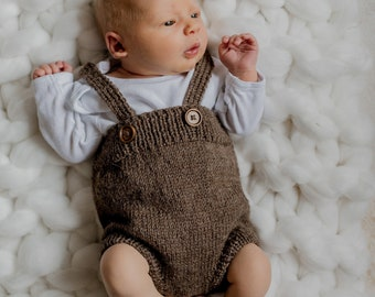 Baby Shower Gift Knitted Infant Pants With Suspenders Pinecone Dungarees 100/% Merino Wool Made To Order For Girl Or Boy Photo Props