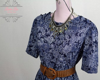 Vintage Blue Patterned Pleat Skirt Dress Size L