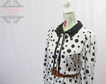 Vintage Black White Spotted Shirt Dress Size M