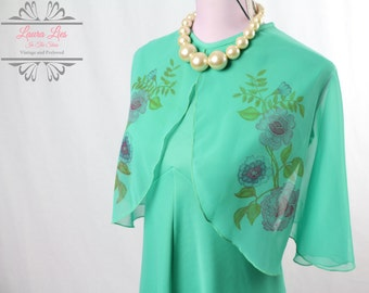 Vintage Green Chiffon Floaty Sleeves Dress Size M/L