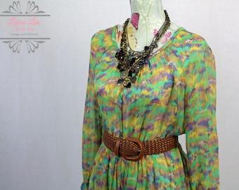 Vintage Green Sheer Chiffon Beach Cover Up Dress Size M/L