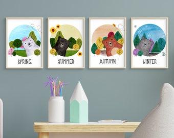 Four Seasons Bears   A5   Nursury wall art card set Dutch or English   art print   forest illustration   bedroom decoration   babyshower