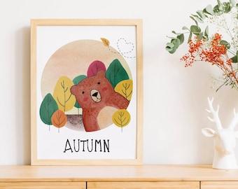 Autumn Bear   A4   Nursury wall art Dutch or English   four seasons art print   forest Autumn card   bedroom decoration   babyshower
