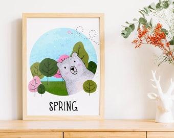 Spring Bear   A4   Nursury wall art Dutch or English   four seasons art print   forest spring card   bedroom decoration   babyshower