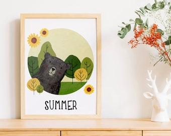 Summer Bear   A4   Nursury wall art Dutch or English   four seasons art print   forest Summer card   bedroom decoration   babyshower