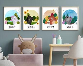 Four Seasons Bears   A4   Nursury wall art card set Dutch or English   art print   forest illustration   bedroom decoration   babyshower