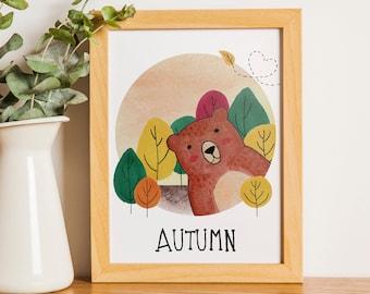 Autumn Bear   A5   Nursury wall art Dutch or English   four seasons art print   forest Autumn card   bedroom decoration   babyshower