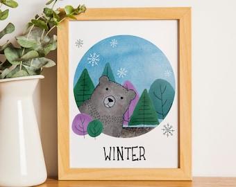 Winter Bear   A5   Nursury wall art Dutch or English   four seasons art print   forest winter card   bedroom decoration   babyshower