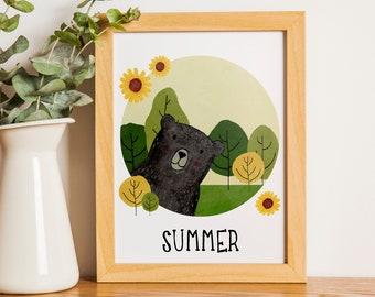 Summer Bear   A5   Nursury wall art Dutch or English   four seasons art print   forest Summer card   bedroom decoration   babyshower