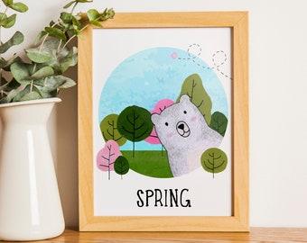 Spring Bear   A5   Nursury wall art Dutch or English   four seasons art print   forest spring card   bedroom decoration   babyshower