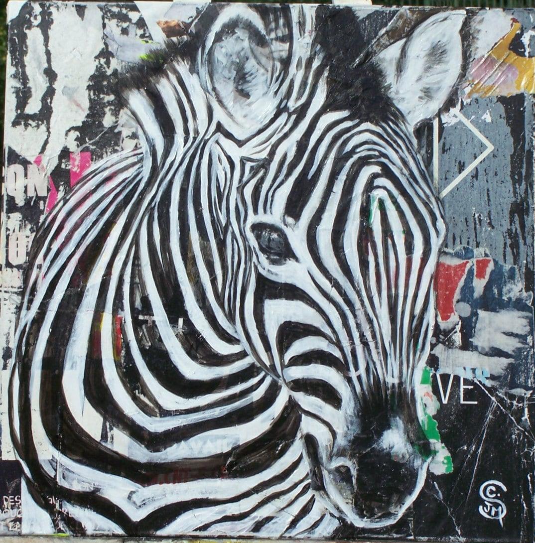 Malen Auf Leinwand: Zebra-Kopf Acryl Auf Abgerissene