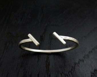 Silver cuff bracelet, designer cuff, hammered bracelet, geometric bracelet, silver bangle, minimalist cuff, mens cuff bracelet, stylish cuff