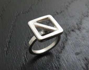 Square ring, statement ring, stylish ring, geometric ring, minimalist ring, cool ring, modern ring, contemporary ring, boho ring, men's ring