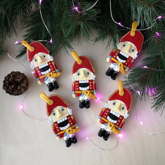 Polymer Clay Christmas Tree Decorations.Christmas Tree Toy Nutcracker Clay Toy Polymer Clay Nutcracker Christmas Toy Christmas Tree Decoration
