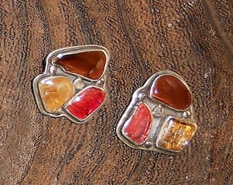 H. Fred Skaggs Vintage Sterling Silver Tourmaline and Citrine Clip Earrings