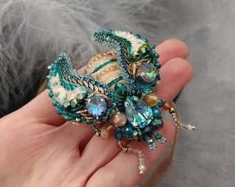 Brooch beaded glass Crystal beads brooch Beetle brooch pin Dress bead brooch Beaded dark purple cicada brooch pin