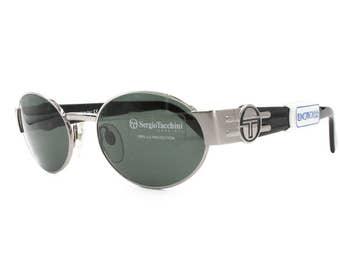 Sergio Tacchini deadstock sunglasses oval front // matte silver & black ST logo temples // Vintage NOS 1980s