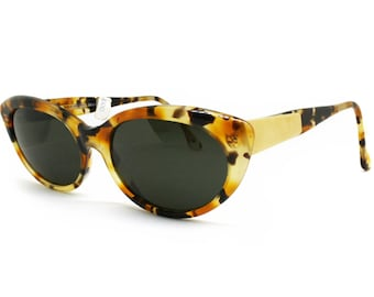 29e5226f2e Cat Eye sunglasses 1970s havana tortoise cellulose   Gold    womens sunglasses  vintage made in Italy by EXCELSIOR