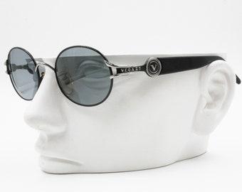 Vogart de 3527 5554 rond Vintage lunettes de soleil Police, temples de gros  logo, noir   argent, neuf ancien Stock 1980 s e233e8845e80