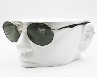 Persol Sport 2003-S vintage sunglasses oval shape, Black & Silver with green lenses, New Old Stock