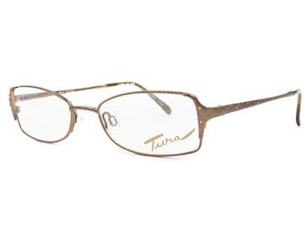 1c78dfe913a2 Made in Japan rectangular eyeglasses woman female model TURA mod. 525     bronze   rhinestones    Vintage 90s deadstock glasses