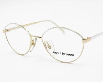 d2c7a36cbb Terry Brogan woman eyeglass frame Golden   White eyebrows arms