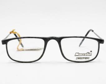 ac6c6a243170a Marcolin carbon fibre reading glasses mod. 631 rectangular flat top frame  Dappled black and gray simil Tabby cat