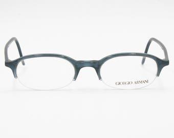 68a2c6fffb36 Giorgio Armani 2012 309 eyeglass frame half rimmed little Blue striated