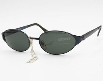Genny sunglasses 80s oval large lenses // electric deep blue frame // Deadstock italian sunglasses 1980s