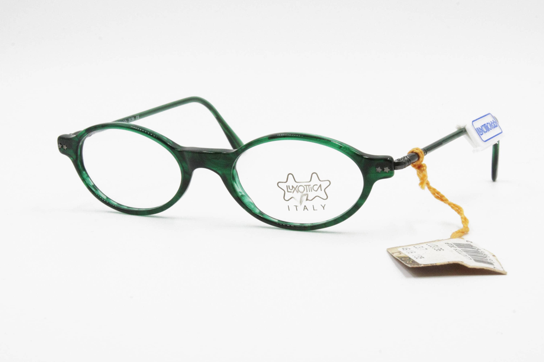 8030785255c9 Vintage green veined acetate oval eyeglasses prescription