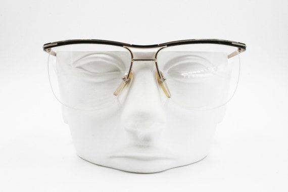 7192e9e1dc2 Vintage eyeglass half rimmed wired black   golden EQUIPE