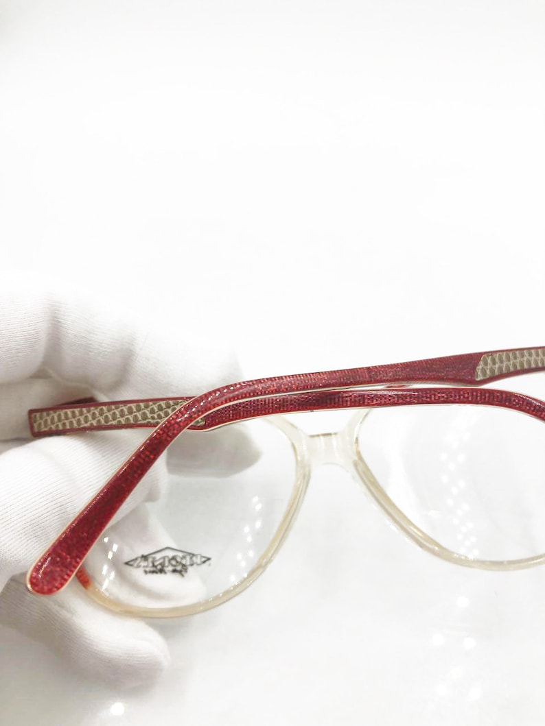 ROUGE Vintage women/'s round eyeglass frame Hand Made Italy with leather REGINES mod New old Stock