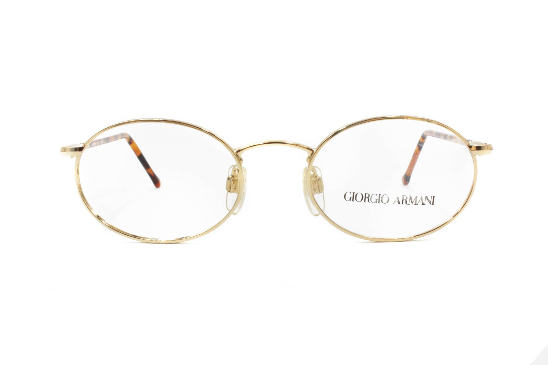 Giorgio Armani Brillen ovalen Rahmen / / blass goldene Metall | Etsy