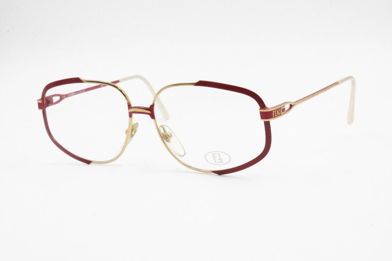 0e297cd5c225 Fendi by Lozza mod. FV 35 red striped and gold eyeglasses