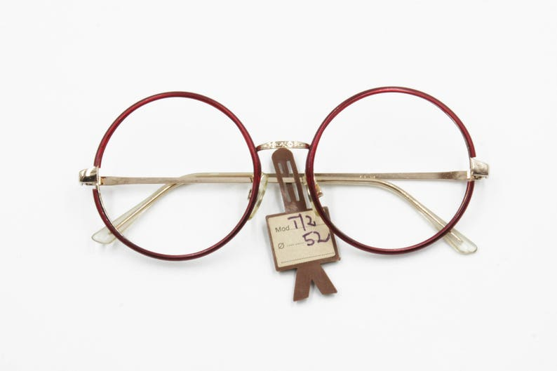 8cdafd82a4a8 Authentic 1960s oversize round eyewear frame Pale Golden with
