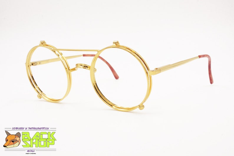 f465d15783 Golden round glasses frame Flip-Flop Openable front Round