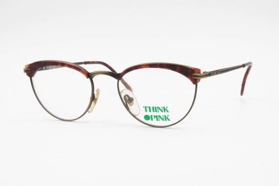 Vintage 80s marco de gafas THINK PINK cejas de inserción de acetato, colores envejecidos Gafas Deadstock hechas en Italia