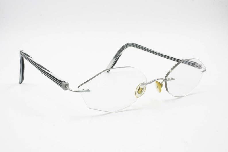 da362be29f83 Rimless reading glasses nonagon lenses    vintage late 80s
