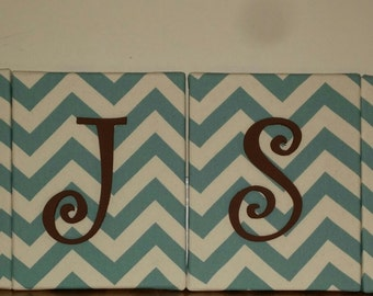 Canvas Name, Wall canvas with wooden letters for nursery or child's room