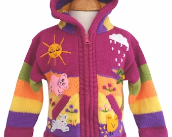 Handmade children sweaters, Alpaca wool and Cotton blend, farm animals details on the sweater.