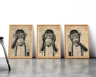 Photo Animal Singe Chimpanzé art Affiche A3-Gorilla Thinking About Life
