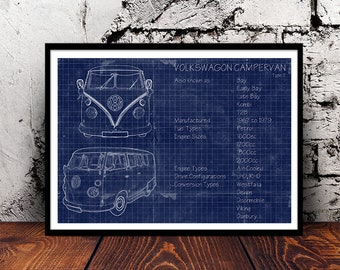 Vw van blueprint etsy vw campervan a4 blueprint volkswagon camper van retro camping vintage westy adventure wanderlust malvernweather