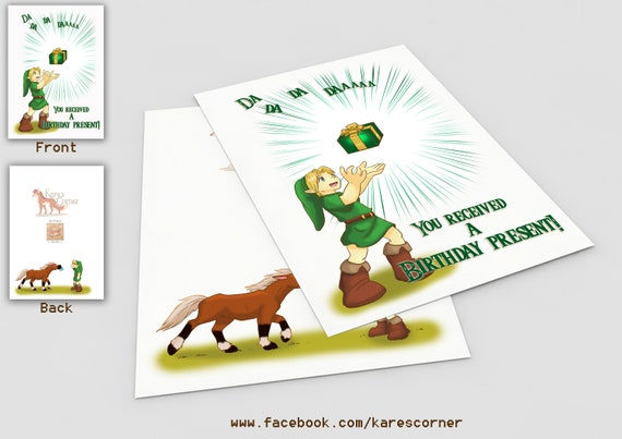 Legend Of Zelda Birthday Card Etsy