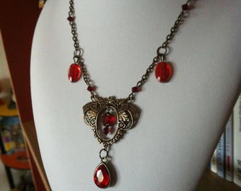 """Red Leaf"" baroque gothic necklace"