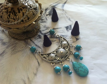 "Bohemian India ""Panju"" silver and turquoise necklace"
