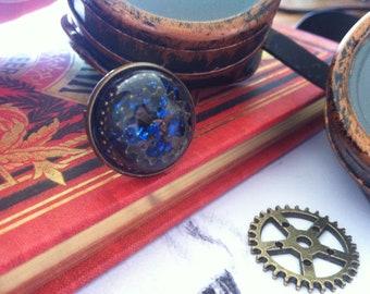 Steampunk resin ring glitter