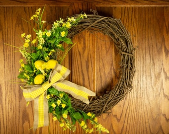 Lemon wreath, Summer wreath, Yellow wreath, Citrus wreath, Bright colorful wreath, Spring wreath, Rustic yellow wreath, Rustic lemon wreath