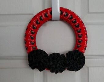 8 inch red pug ribbon wreath