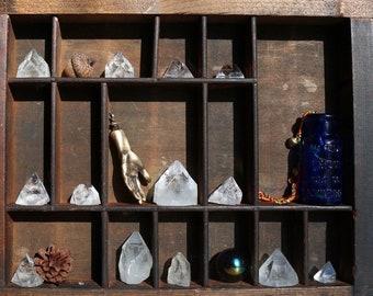 Apophyllite Crystal Points, Singular and in Sets of 4 Apophyllite Pyramids