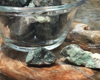Set of 3 ~ Raw Emerald Stones, Heart Chakra Crystal, Natural Emerald, Emerald in Matrix, Heart Chakra, Crystal Grid, Reiki, Green Crystal